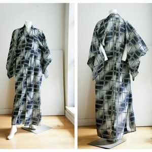 Vintage Lighweight Geometric Print Kimono
